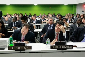 Delegates at a meeting of the General Assembly's Fifth Committee (Administrative and Budgetary), during which delegates were presented with Secretary-General Ban Ki-moon's proposed UN programme budget for 2012-2013. (27 October) 2011