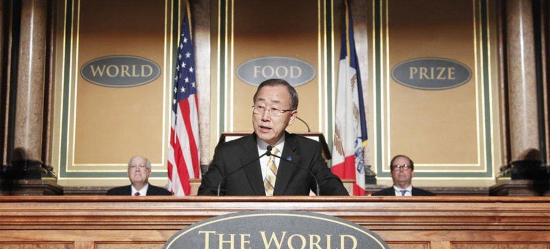 Secretary-General Ban Ki-moon delivers keynote address at the 2012 World Food Prize laureate award ceremony.