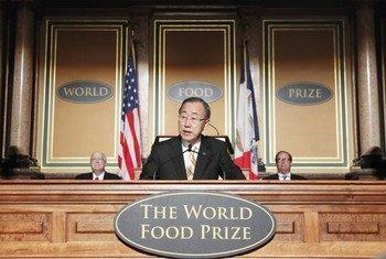 Le Secrétaire général Ban Ki-moon prononce son allocution lors de la cérémonie de remise de prix du World Food Prize 2012.