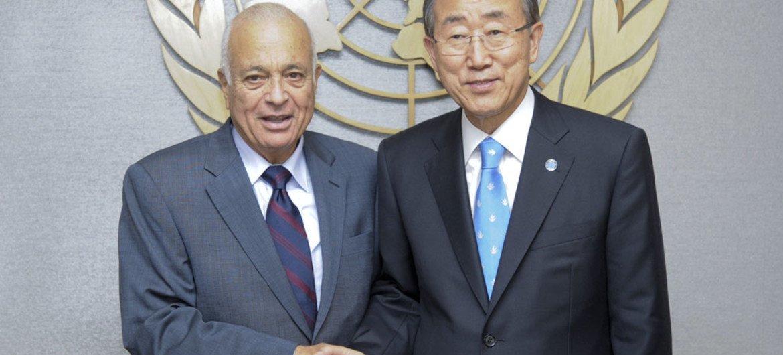 Secretary-General Ban Ki-moon (right) with Nabil Elaraby, Secretary-General of the League of Arab States.