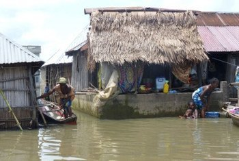 People affected by flooding in Benin.