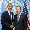 Secretary-General Ban Ki-moon  with US President Barack Obama at UN Headquarters in September 2012.