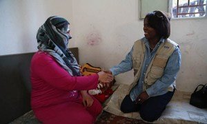 WFP Executive Director Ertharin Cousin visits Syrian refugees in the Bekaa Valley, Lebanon.