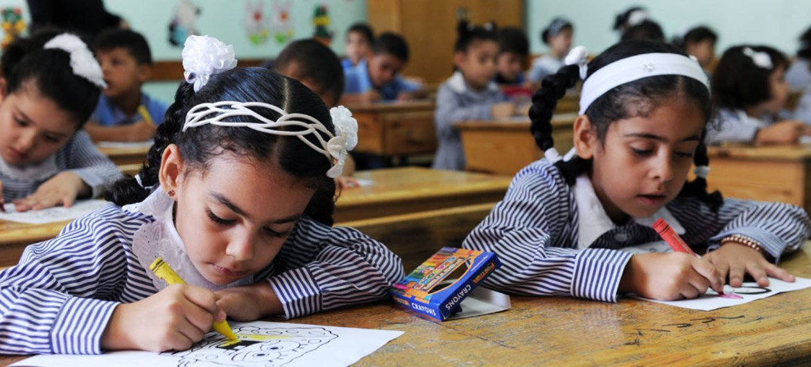 Schools run by UNRWA in Gaza, such as this one, have been temporarily closed due to the escalation of violence.