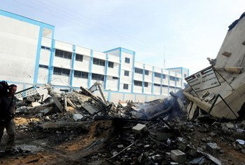 In the foreground: the remains of the Ministry of Interior's Civilian Affairs office after Israeli bombardments in Gaza City.