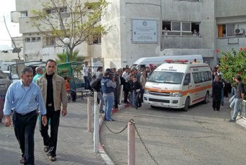 An ambulance carrying injured Palestinians preparing to take them from Shifa hospital, Gaza, to Egypt for urgent treatment.
