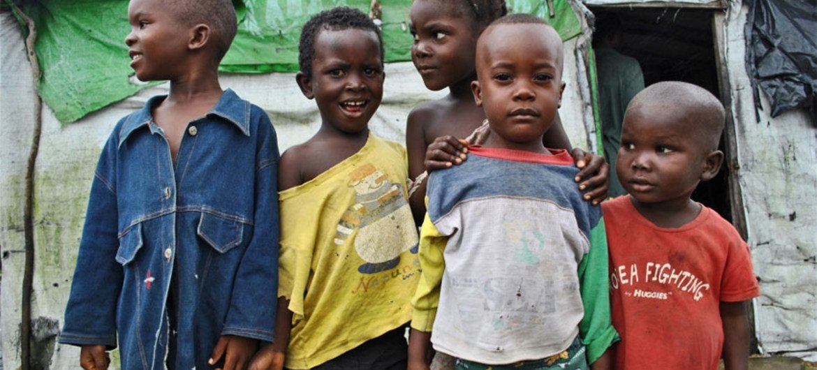 Refugee children at the Tabou Transit Camp in Cote d'Ivoire.