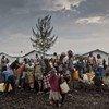 Des personnes déplacées viennent chercher de l'eau au camp de Mugunga 3, à 15 km au sud de Goma au Nord-Kivu.