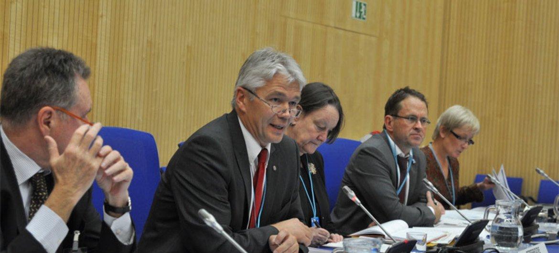 Jānis Kārkliņš (second left), Assistant Director General for Communication and Information of UNESCO, addresses opening session.