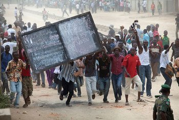 Residents of Bunia in the Democratic Republic of the Congo (DRC) protesting the capture by the M23 rebel group of Goma.