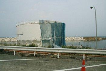 Tanque danificado em Fukushima Daiichi