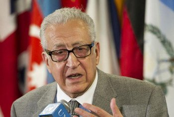 Joint Special Representative of the UN and the League of Arab States for the crisis in Syria, Lakhdar Brahimi, briefs reporters.