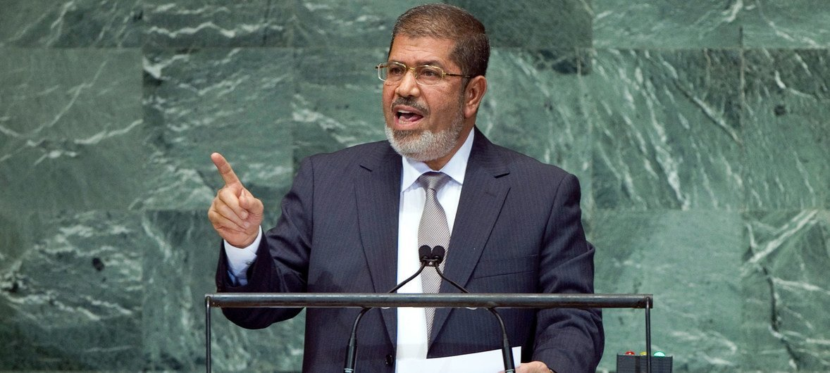 Mohamed Morsi, President of Egypt, addresses the general debate of the sixty-seventh session of the General Assembly.