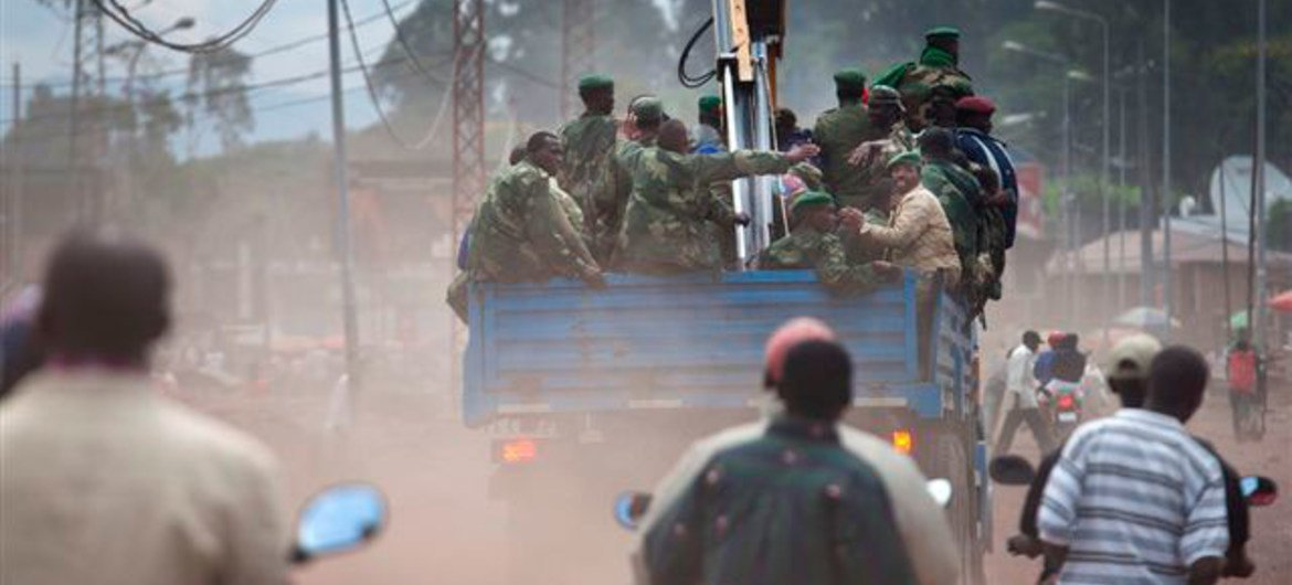 Armed group of M23 make their  withdrawal from the city of Goma, DRC.