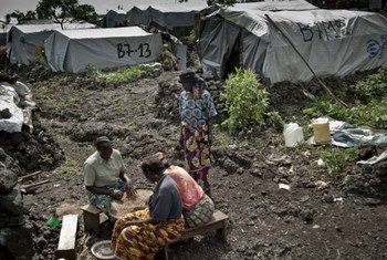 Displaced women sort beans in front of their shelter in Mugunga III camp, Democratic Republic of the Congo (DRC).