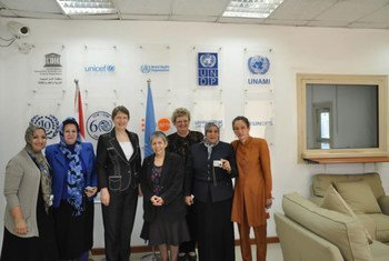 UNDP Administrator Helen Clark (third left) meets with women civil society leaders in Iraq.