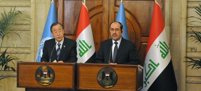 Secretary-General Ban Ki-moon and Iraqi Prime Minister Nouri al-Maliki brief the press in Baghdad.