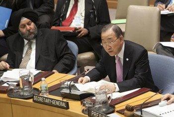Le Secrétaire général de l'Onu, Ban Ki-moon, au Conseil de sécurité.