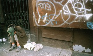 A homeless man sits at the steps of a store in lower east side, Manhattan, New York City. (File)