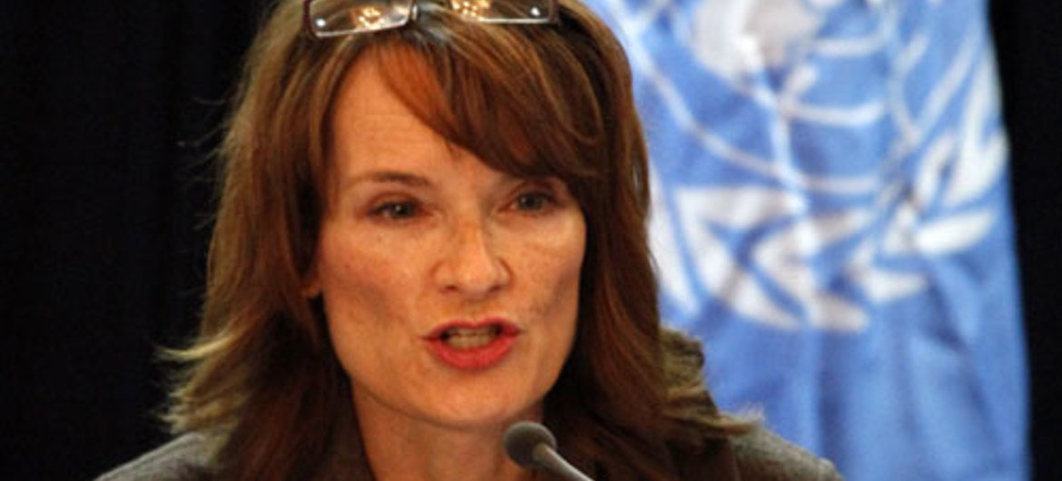 UNAMA Human Rights Director Georgette Gagnon addressing a news conference in the Afghan capital of Kabul.