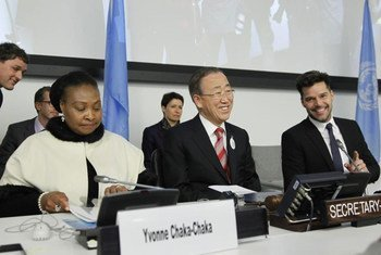 Yvonne Chaka Chaka<br>Ban Ki-moon y Ricky Martin