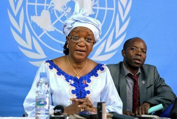 Special Representative on Sexual Violence in Conflict Zainab Hawa Bangura speaks to the press in Bangui, Central African Republic.