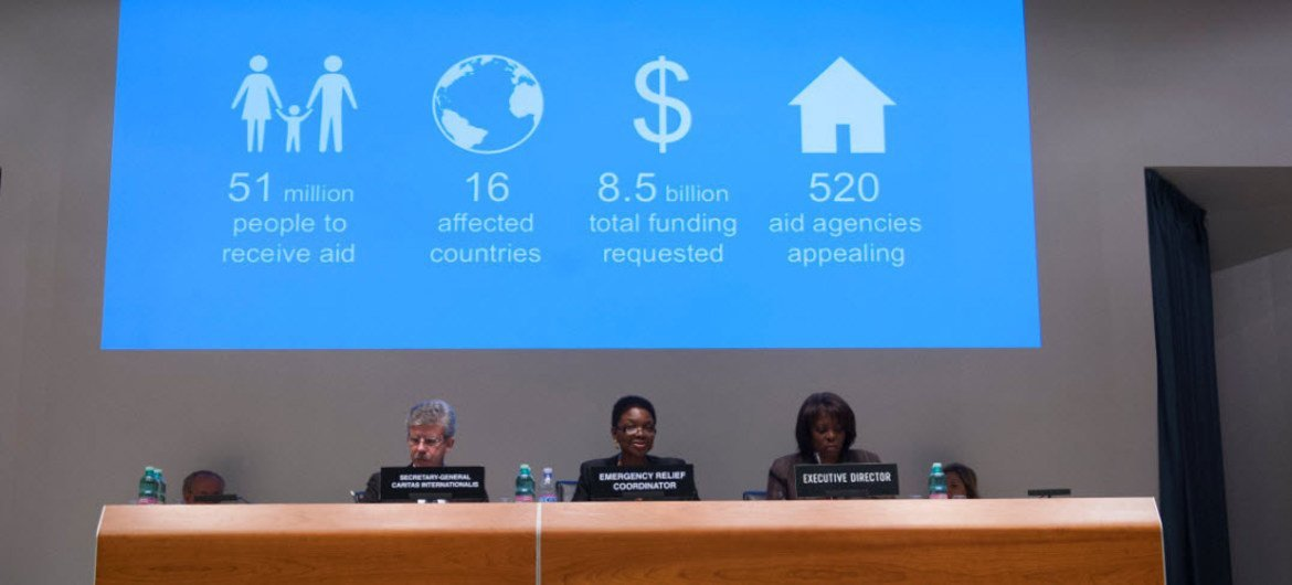 Global humanitarian needs for 2013 presented by from right: WFP Executive Director Ertharin Cousin, UN Emergency Relief Coordinator Valerie Amosand Caritas Internationalis Secretary General Michel Roy.