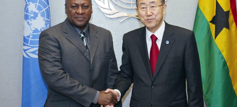 Secretary-General Ban Ki-moon (right) and President John Dramani Mahama of Ghana.