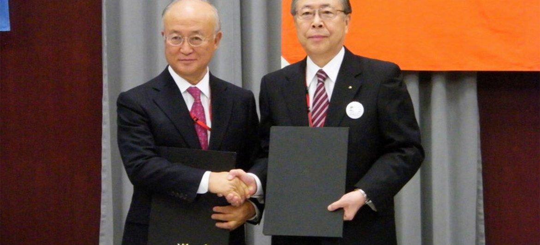 IAEA Director General Yukiya Amano and the Governor of Fukushima Prefecture, Mr. Yuhei Sato.