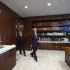 Secretary-General Ban Ki-moon (right), accompanied by Chef de Cabinet Susana Malcorra, returning to his usual office at the completion of renovation.