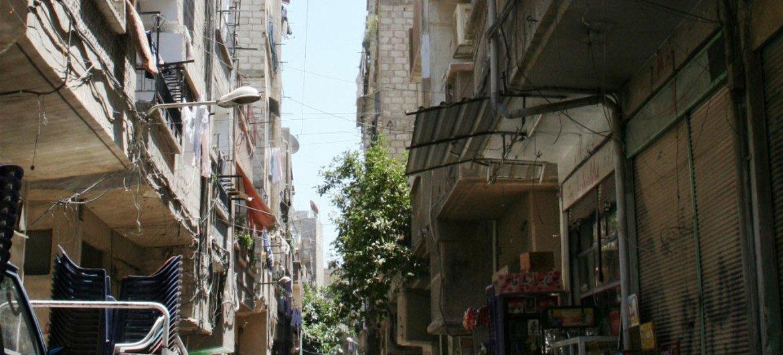 Le camp de Yarmouk, foyer des réfugiés Palestiniens établis à Damas, en Syrie.