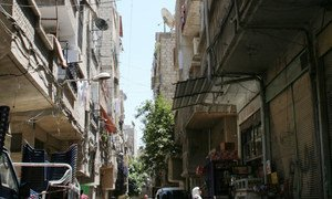 Yarmouk camp for Palestinian refugees in the Syrian capital Damascus.