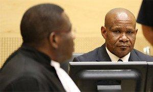 Mathieu Ngudjolo Chui, lors de son procès à la Cour pénale internationale (CPI), à La Haye, en décembre 2012.