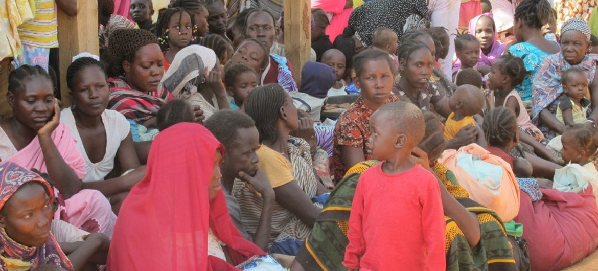 Civilians seeking refuge in the UN compound in the city of Wau, South Sudan.