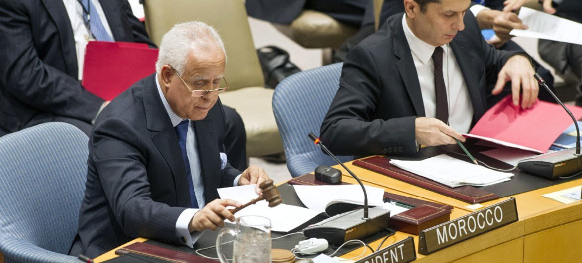 Amb. Mohammed Loulichki (left) of Morocco chairs the Security Council's meeting on Timor-Leste.