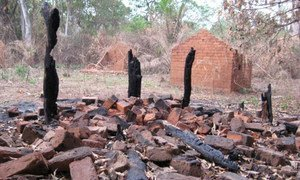 The ruins of a house that was torched by LRA fighters in Nguili-Nguili village, close to Obo Town, Central African Republic.