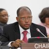 Ambassador George Wilfred Talbot of Guyana, Chair of the General Assembly's Second Committee, during discussions.