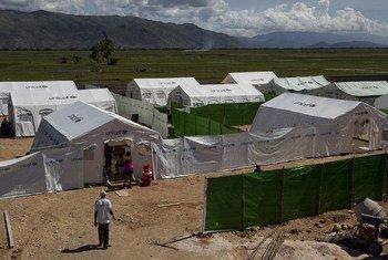 Un centre de soins pour patients atteints du choléra en Haïti.