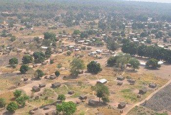Vue aérienne de Ndélé en République centrafricaine.