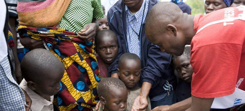 A child receives the measles vaccine in the Kibati II camp, eastern Democratic Republic of the Congo.