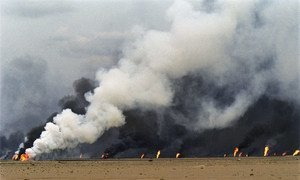 The Al Maqwa oil fields set ablaze by the occupation forces of Iraq   in 1991.