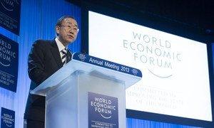 Le Secrétaire général de l'ONU, Ban Ki-moon, au Forum économique mondial de Davos. Photo ONU/Eskinder Debebe