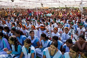 A gathering to promote the rights of girls and education for all in Barrod village of Rajasthan's Alwar district (2012).