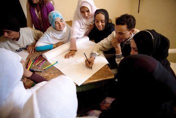 Young people contributing to a workshop on climate change in Iguiwaz, Morocco.