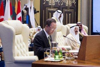 Le Secrétaire général Ban Ki-moon lors de la Conférence internationale d'annonces de contributions pour l'aide humanitaire en Syrie.