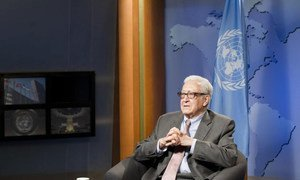 Joint Special Representative for Syria Lakhdar Brahimi being interviewed at UN Headquarters in New York.