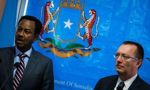 Under-Secretary-General for Political Affairs Jeffrey Feltman (right) meets with Somali Prime Minister Abdi Farah Shirdon during a visit to Mogadishu. AU-UN IST Photo/Stuart Price