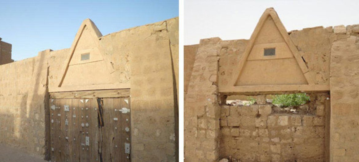 The door of the Sidi Yahia Mosque in Timbuktu, Mali, before and after it was attacked.