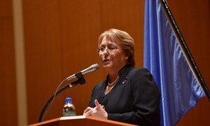 Michelle Bachelet en una comparecencia en la ONU. Foto: ONU Mujeres/Hiroaki Yamaguchi