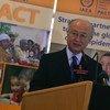 IAEA Director-General Yukiya Amano addresses the World Cancer Day Commemoration in Vienna, Austria.